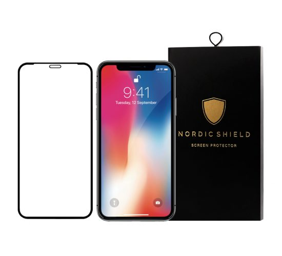 Nordic Shield panserglas iphone X/XS/11 Pro full cover blister produktbillede