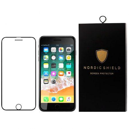 Nordic Shield panserglas iphone 6/6S/7/8 full cover sort blister produktbillede