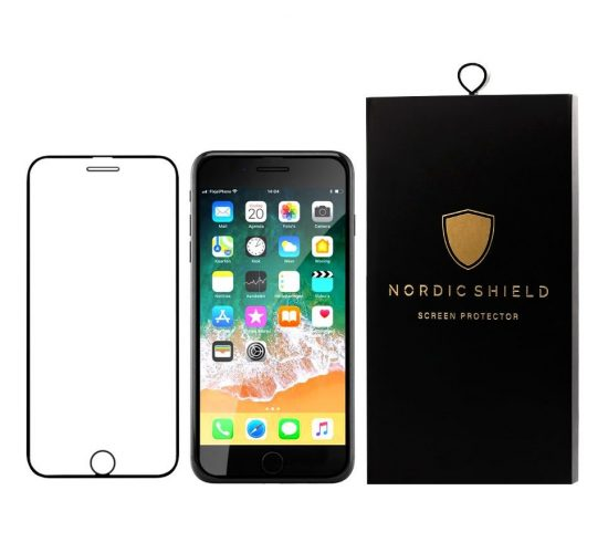 Nordic Shield panserglas iphone 6/6S/7/8 full cover sort blister produktbillede