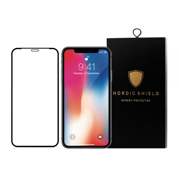 Nordic Shield panserglas iphone X/XS/11 Pro full cover silicone edge blister produktbillede